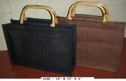 Jute Black Brown Bag