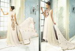 White Luxurious Unstitch Long Salwar Kameez