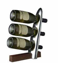 Polished Aluminum & Polished Wood Wine Bottle Holder