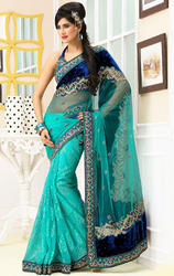 Sea+Blue+%26+Royal+Blue+Color+Velvet+and+Net+Saree+with+Blouse