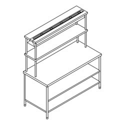 Pick Up Counter with 2 U/s Three Side Closed