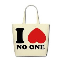 I Love No One Canvas Bags