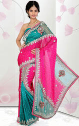 Pink+and+Rama+Green+Color+Satin+Chiffon+and+Net+Ready+Saree