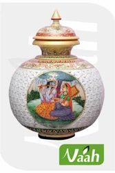 Vaah Marble Home Decor Radha Krishna Pot
