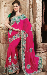 Pink+Color+Faux+Georgette+Saree+with+Blouse