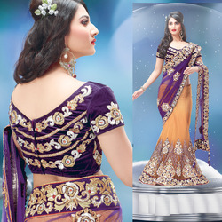 Purple And Orange Vivid Designer Lehenga Saree