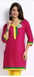 Pink Designer Kurti With Applic