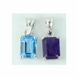 Blue Topaz and Amethyst Octagon Pendants