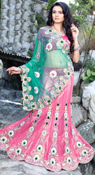 Beautiful Work Pink Green Net Designer Saree