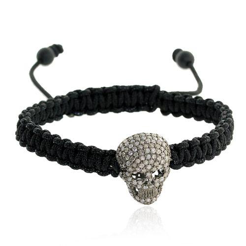 Skull Charm Macrame Bracelet