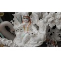 Krishna with Loving Cow In White Marble Statue
