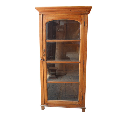 Single Glass Door Wood Cabinet