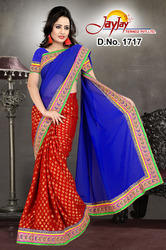Blue+Red+Designer+Saree