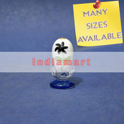 White Glass Easter Egg with Flower Design