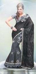 Black Floral Lehenga Saree