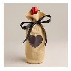 Heart Printed Wine Bag