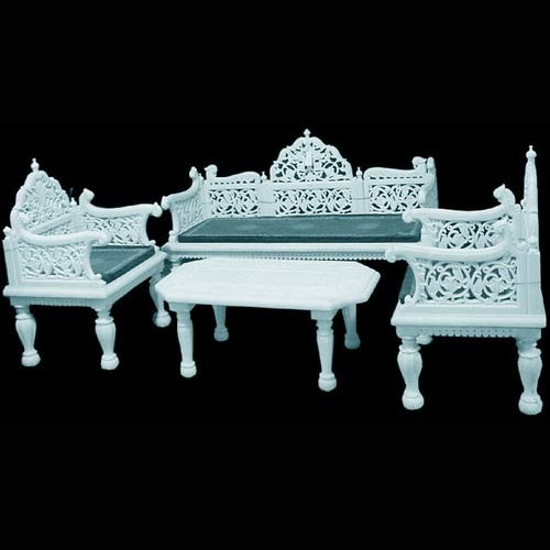White Makrana Marble Sofa Set
