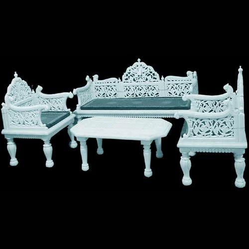 White Makrana Marble Sofa Set