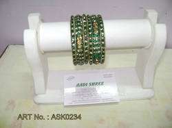 Hyderabadi Bangle With Green Stones