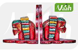Vaah Painted Wooden Elephant Book Stands