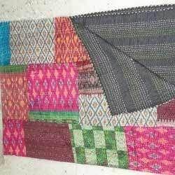 Vintage Old Silk Saree Fine Kantha Quilt