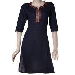 Twill+Cotton+Kurti+with+Elegant+Embroidery