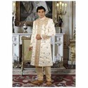 Cream & Dark Cream Groom Sherwani