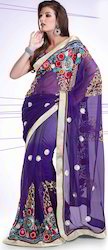 Net Shaded Saree Decorated Pat-1200