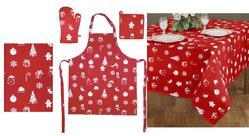 Offered Kitchen Set With Beautiful Apron, Tablecloth, Glove