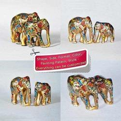 Hand Painted Wooden Carved Elephants - Various Sizes