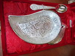 Silver Plated Mango Shaped Plate with Spoon