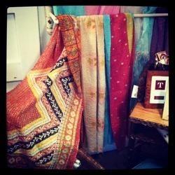 Patchwork Old Silk Saree Kantha Quilt Reversible Throw