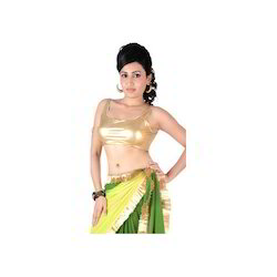Gold Metalic Stretched Polyester Lycra Saree Blouse