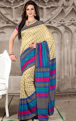 Cream+Blue+and+Grey+Color+Art+Silk+Printed+Saree+with+Blouse