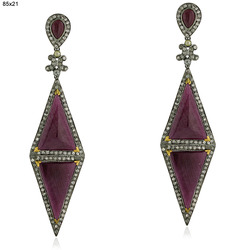 Designer Ruby Gemstones Earrings Jewelry