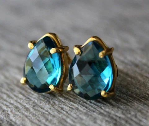 L.B.T Quartz  Stud Gemstone Earring