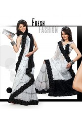 Aesthetic Black & Off White Embroidered Saree