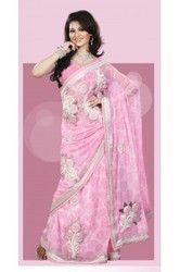 Adorable Deep Pink Embroidered Saree