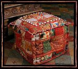 Patchwork Square Antique Ottoman