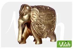 Vaah Painted Wooden Elephant Showpiece