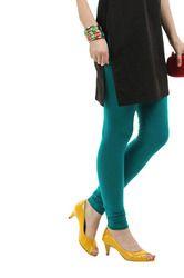 teal blue color full length cotton stretch legging