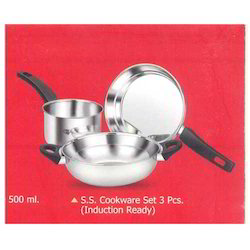 S.S Cookware Set 3 Pcs. (Induction Ready)