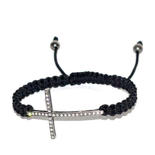 Pave Diamond Cross Charm Bracelet