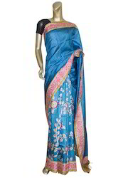 Light Blue Colour Tusar Saree