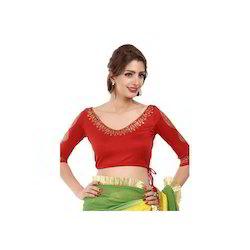 Red 3/4 Th Sleeves Viscose Saree Blouse
