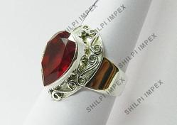 Lab Created Ruby Silver Designer Ring