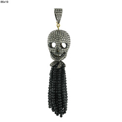Black Onyx Beads Tassel Pendant
