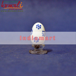 White Polka Dots Glass Easter Egg