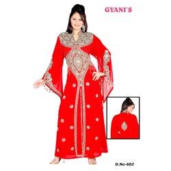 Red Embroidered Ladies Kaftan