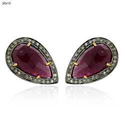 Pave Diamond Ruby Gemstone Earrings